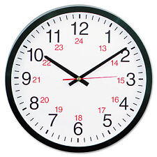 "Universal 24-Hour Round Wall Clock 12 5/8"" Black 10441"
