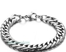 Men's Boy's Stainless Steel Square Cuban Curb Link Chain Bracelet Silver Tone