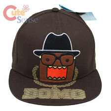 Domo Kun Flat Bill Cap Flex Fit Hat Hip Hop Domo with Nerd Glasses Licensed