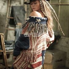 Ralph Lauren Denim Supply Women American Flag Patchwork Fringed Sweater Cardigan