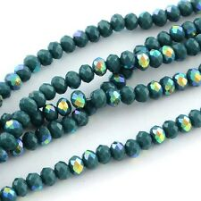 100 pcs RONDELLE FACETED GLASS CRYSTAL BEADS 6 mm Dark Sea Blue AB