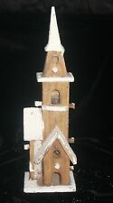 RUSTIC LED LIT SNOWY NATURAL WOODEN CHURCH INDOOR USE BAT OP 10 LEDS CHRISTMAS