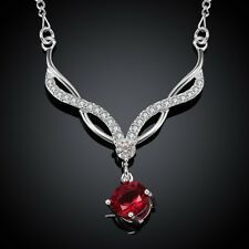 Fashion 925 Silver Plated Crystal Pendant Chain Necklace 18 inch NF