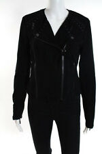 Paige Black Suede Lace Up Detail Devin Motorcycle Jacket Size Small NWT
