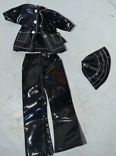 Vintage Barbie Doll Black Plastic Rain Coat