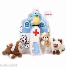 "6 PC SOFT Plush 11"" White HOSPITAL TOTE  Assorted Stuffed Doctor Nurse Patients"