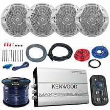 "4x JBL MS6510 6.5"" Boat Speakers, Kenwood 400-Watt Bluetooth Amplifier, Amp Kit"