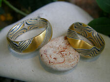 Trauringe Mokume Gane Gold 900 Palladium 500 Silber 925