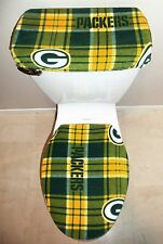 NFL GREEN BAY PACKERS Plaid Fabric Toilet Seat Cover Set Bathroom Accessories