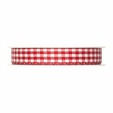 """Red Gingham ribbon check fabric 15mm (5/8"""") Full 25m roll Made in Germany"""