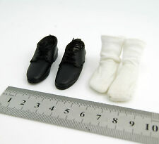 X15-02 1/6 HOT Black Leather Shoes w/h White Socks TOYS