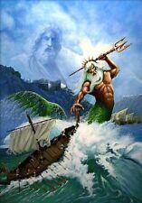 Poseidon Oil Painting Olympian DeitiesPantheon Greek Mythology Fight with Ocean