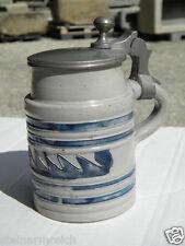 1850 Ritzkrug BIEDERMEIER Bierkrug Salzglasur blau geritzt beerstein Westerwald