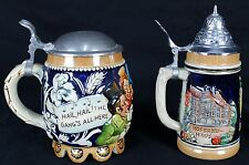 2 GERMAN BEER STEINS WEST GERMANY MARKED 1/4 OTHER MARKED 6 FRAUEN KIRCHE
