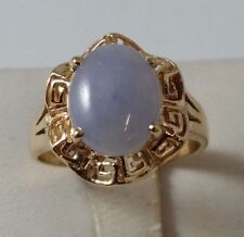 18K SOLID YELLOW GOLD JADE RING