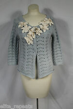 Anthropologie Field Flower Star Cardigan Light Blue Applique Angora & Wool Sz S