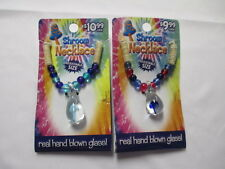 MUSHROOM HEMP NECKLACES lot of 2 Blown Glass SHROOM Pendants Choker Blue NEW NWT