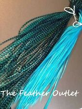 Lot 10 Grizzly Feathers Hair Extensions long thin skinny striped TURQUOISE BLUE