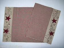 """Appliquè Stars & Embroidered Berry Vines Country Primitive 13"""" x 36"""" Runner"""
