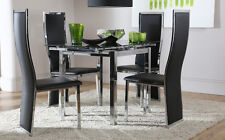 Space Square Black Glass & Chrome Extending Dining Table And 4 Chairs Set (Celes