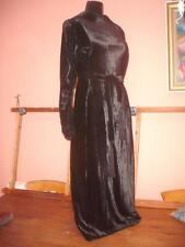 STUNNING VINTAGE 1930s SILK VELVET DEVORE CUT VELVET EVENING DRESS BLACK
