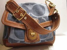 Coach Legacy SLIM ALI Blue Denim 10824 Whiskey Leather Shoulder Bag MINT