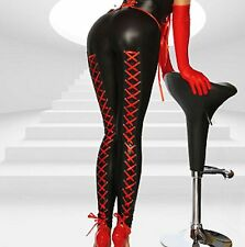 Sexy Faux Latex Look Leggings Red Silky Ribbon Lace Up Backs