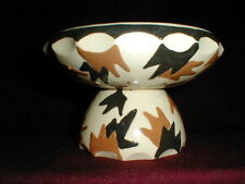 German Pottery Brown Beige Black Geometric Pedestal Compote/Footed Candy Dish