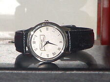 New Casual  Black & Silver Spartan Stores Leather Band Quartz Watch