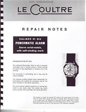 Jaeger Lecoultre 815 Wrist Alarm Repair Manual For Auction