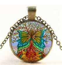 Vintage Flower Tree of Life Cabochon Glass Bronze Chain Pendant Necklace