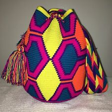 Free Shipping MOCHILA WAYUU LARGE HANDMADE Colombian CROSSBODY SHOULDER BAG