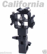 Tri-Hot Shoe Mount Flash Bracket Umbrella Holder for Nikon Canon Vivitar Metz