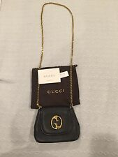 Gucci Authentic 1973 Black Leather Gold Chain Cross body Bag! Dustbag & Cards!
