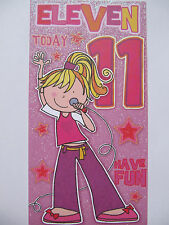 SUPER GLITTER COATED XFACTOR SINGING DIVA 11 TODAY 1TH BIRTHDAY GREETING CARD
