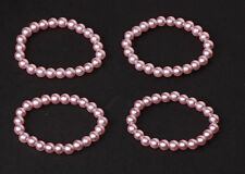 CHIC SET OF 4 FLEXIBLE PINK PEARL BRACELETS HIGH QUALITY TIMELESS STYLE (ZX21)