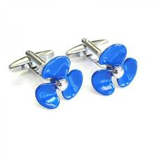Blue Ships Propeller Cufflinks Sailing Ship Boat Sea Fan Cuff Links Gift Set New