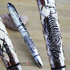 JINHAO 3000 WHITE WITH SILVER TIGER EMBOSSED 18KGP BROAD NIB FOUNTAIN PEN NET