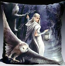 Everspring Anne Stokes Fantasy Pillow Cushion 16x16 Snow Fairy with Owl at Night