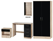 Alpha Black Gloss & Oak 3 Piece Bedroom Set Double Wardrobe Desk & Bedside Table
