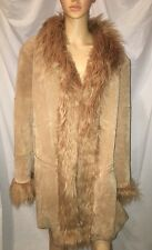 GALLERY WOMAN Penny Lane Boho Tan Suede Leather & Faux Fur Lined Coat 2X