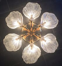 Flush Mount Design Lamp Brass Ice Glass Flower Murano Milano Novaresi