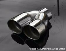"Exhaust Muffler Tip Dual 2.25"" OD Resonated Staggered 2.25"" ID Inlet 6"" long"