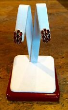 BEAUTIFUL 14K YELLOW GOLD GARNET PIERCED EARRINGS RET $327