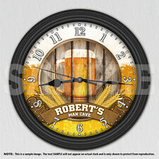 Beer - Man Cave - Personalized Decorative Wall Clock - Men's Decor