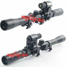 3-7X20 Optics Cross Reticle Scope&Red Laser Sight&Mounts For Air Gun Rifle New