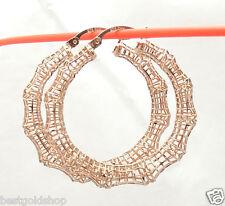 "1 3/4"" Technibond Bamboo Filigree Hoop Earrings 14K Rose Pink Gold Clad Silver"