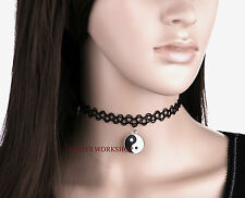 VINTAGE YIN YANG YAN STRETCH TATTOO CHOKER GOTHIC PENDANT NECKLACE
