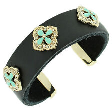 Black Leather Yellow Gold Tone Crystals Turquoise Open End Womens Cuff Bracelet