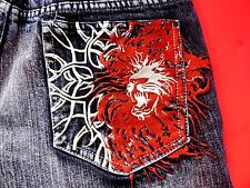 Rare Mens Pepe Jeans * 29  Embroidered Lion & Thorns On Pocket London Distressed